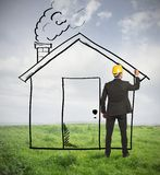 Architect drawing home Stock Photos