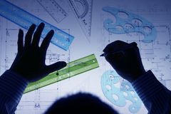 Architect drawing plan Stock Photography