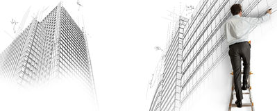 Architect drawing a project Royalty Free Stock Photography