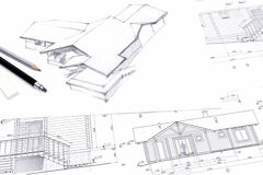Architect drawing a sketch with pencil. Architectural sketch drawings for new home renovation Stock Photo