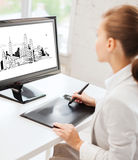 Architect with drawing tablet in office Royalty Free Stock Photography