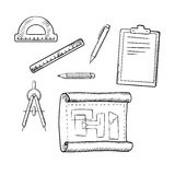 Architect drawing and tools sketches. Architect drawing, compasses, pencil, pen, ruler, half circle protractor and clipboard sketch icons Royalty Free Stock Photos