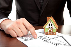 Architect draws a drawing house project Stock Photography