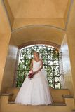 Architect Dress. A bride standing under a arch in her dress Royalty Free Stock Image