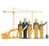 Architect en bouwbemanning op plaats Stock Foto's