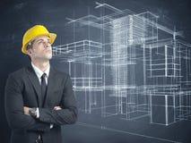 Architect en project van moderne gebouwen Stock Foto