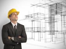 Architect en project van moderne gebouwen stock fotografie
