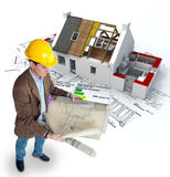 Architect and energy efficient home stock illustration