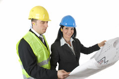 Architect and engineer. With house plans isolated on white background.Also,check out  Workers and tools Stock Image
