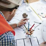Architect Engineer Blueprint Planning Construction Concept Stock Photos