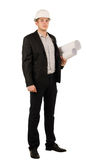 Architect or engineer carrying blue prints Stock Photo