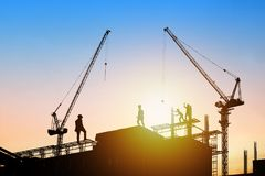 architect and engineer concept, Silhouette of working man standi Stock Image
