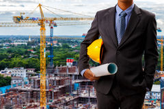 Architect engineer on construction site Stock Photos