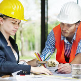 Architect Engineer Discussion Brainstorming Construction Concept stock images