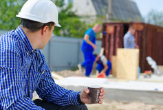 Architect or engineer enjoying his coffee break Royalty Free Stock Photos