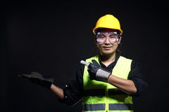 Architect Engineer in hard hat and safety equipment Stock Images