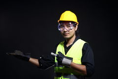 Architect Engineer in hard hat and safety equipment Royalty Free Stock Images
