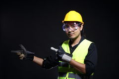 Architect Engineer in hard hat and safety equipment Stock Photos