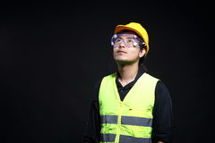 Architect Engineer in hard hat and safety equipment Stock Image