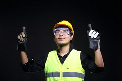 Architect Engineer in hard hat and safety equipment Royalty Free Stock Photo