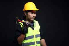 Architect Engineer in hard hat and safety equipment Royalty Free Stock Photography