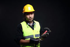 Architect Engineer in hard hat and safety equipment Royalty Free Stock Photos