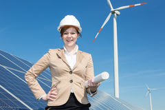 Architect or engineer posing at solar panels Royalty Free Stock Photography