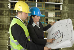 Architect and engineer  on site Stock Image