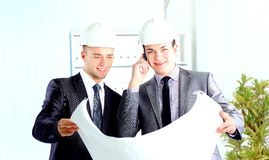Architect engineer two expertise team plan Stock Photography