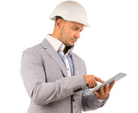 Architect or engineer using a tablet Stock Photos