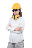 Architect or Engineer woman Look smart portrait with crossed ar Stock Photography