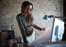 Architect engineer woman working plan at office Stock Images