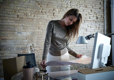 Architect engineer woman working plan at office Royalty Free Stock Image