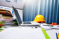 Architect Engineering Desk Table Workplace. Royalty Free Stock Image