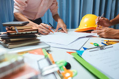 Architect engineering worker working in office. Royalty Free Stock Images