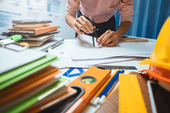 Architect engineering worker working in office. Royalty Free Stock Photography