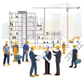 Architect engineers and builders at construction site Stock Photography