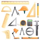 Architect equipment icons set, cartoon style. Architect equipment icons set. Cartoon set of architect equipment vector icons for web design vector illustration