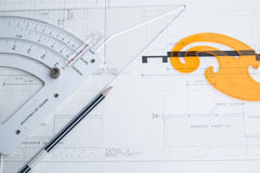 Architect equipment and planning Stock Photo