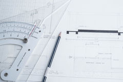 Architect equipment and planning Stock Images