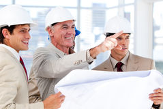 Architect explaining the project to the team Stock Photography