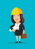 Architect female holding blueprint plans of construction site and building  illustration Royalty Free Stock Image