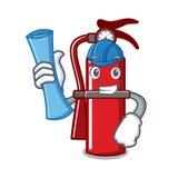 Architect fire extinguisher character cartoon. Vector illustration Stock Photo