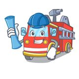 Architect fire truck character cartoon. Vector illustration Royalty Free Stock Photography
