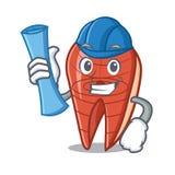 Architect fish slice character cartoon. Vector illustration Royalty Free Stock Photos
