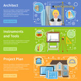 Architect Flat Horizontal Banners. Set of instrument and tools icons and advertising of house planning vector illustration Stock Photos