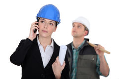 An architect and foreman. Royalty Free Stock Photography
