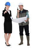 Architect and foreman making decisions Royalty Free Stock Photography