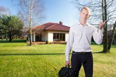 Architect in front of house Stock Photos