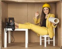 Architect gives you the new plans of apartment. Architect, gives you the new plans of apartment Stock Photography